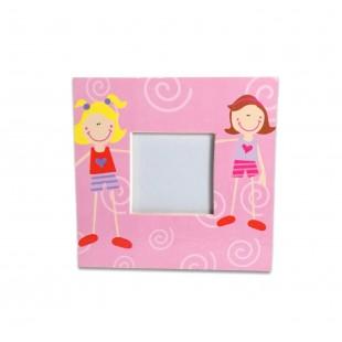 Rama foto copii patrata roz  (10x10 cm)