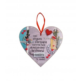 Tablou motivational   ceramica inima (20x19cm) - Esti singura persoana