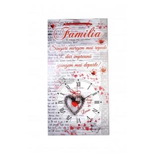 Ceas  motivational  -  Familia (50x27cm