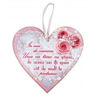 Tablou motivational   ceramica inima (20x19cm) - In mii de oameni