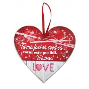 Tablou motivational   ceramica inima (20x19cm) -  Tu ma faci