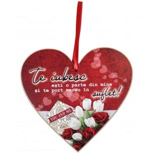 Tablou motivational   ceramica inima (20x19cm) - Te iubesc