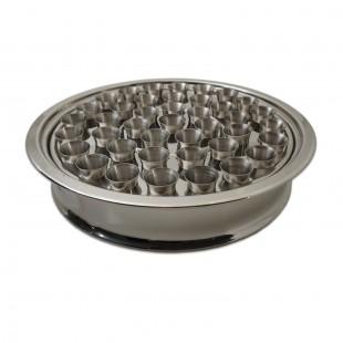 Tavă inox Impartasanie pentru 40 de pahare - argintiu lucios