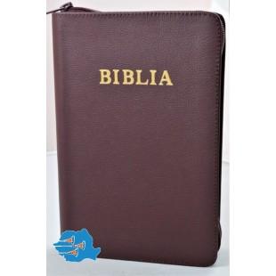 Biblie mare, piele, visiniu, fermoar, index, margini argintii [SI 073 PFI]