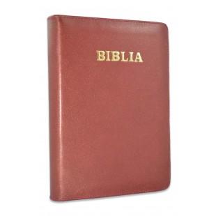 Biblie mare, piele, grena, fermoar, index, margini argintii, cuv. Isus cu rosu [SI 073 PFI]