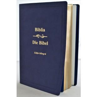 Biblia bilingva romana - germana, mare, piele ecologica, bleumarin inchis, aurita