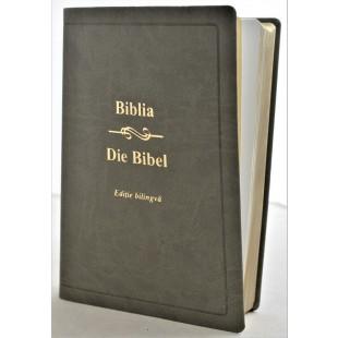 Biblia bilingva romana - germana, mare, piele ecologica, nuanta gri, aurita
