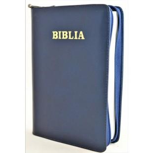 Biblia din piele, marime medie, bleumarin, fermoar, cuv. lui Isus cu rosu [053]