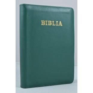 Biblia din piele, marime medie, verde inchis, fermoar, cuv. lui Isus cu rosu [053]