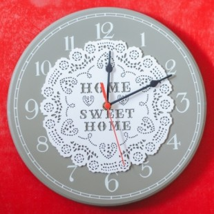 Ceas de perete rotund  gri ( 30x30x3cm) -  Home sweet home