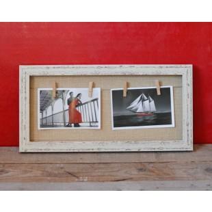 Rama foto din lemn (bej) - 2 poze (60x30x2.5 cm)