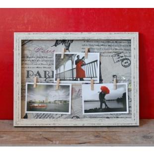 Rama foto din lemn (bej) - 3 poze (40x30x2.5 cm)