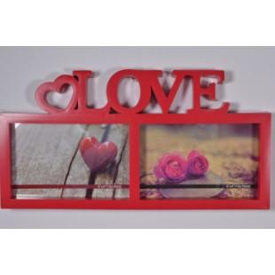 Rama foto rosie cu loc de 2 poze / LOVE