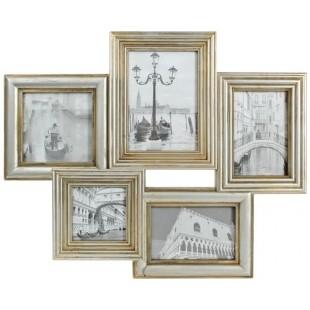 Rama foto multipla, colaj 5 poze, aspect vintage, auriu - 42x51 cm