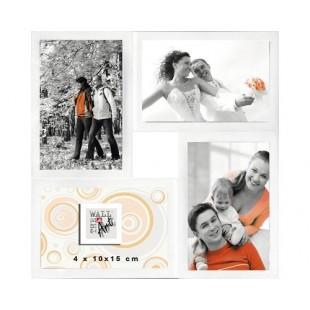 Rama foto multipla, colaj 4 poze, alb 30x30 cm