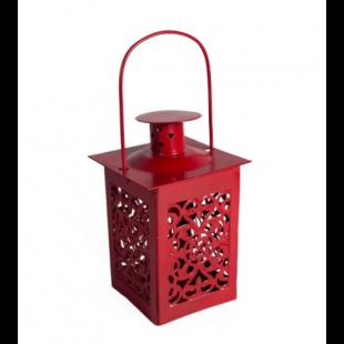 Felinar metalic rosu pentru lumanare (6x12.5 cm)