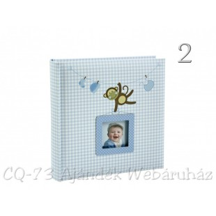 Album foto baby maimutica vesela, ALBASTRU (22x22x4.5 cm )