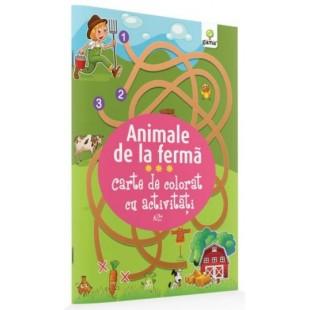 Animale de la ferma - Carte de colorat cu activitati (3-5 ani)