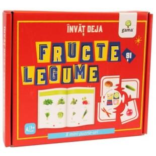 Invat deja fructe si legume - Carte + 8 Mini puzzle-uri (3-5 ani)