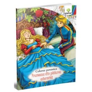 Colorez povestea Frumoasa din padurea adormita - Carte de colorat cu povesti (3-5 ani)