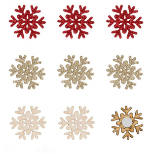 Autocolante decorative de Craciun - Fulgi de nea albi, aurii, rosii, 9 buc.