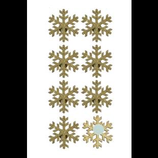 Autocolante decorative de Craciun - Fulgi de zapada, aurii, 8 buc.