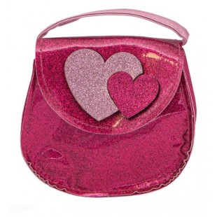 Geanta, roz glitter - Inimi (12x5x11 cm)