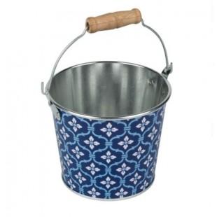 Masca pentru ghiveci, de metal, albastru, in forma de galeata (12x9cm)