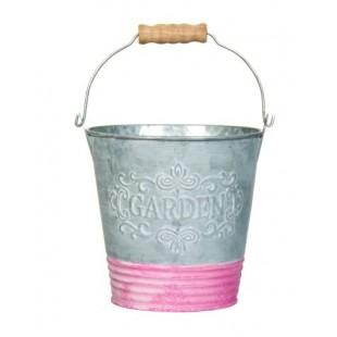 Masca pentru ghiveci, forma galeata de metal, gri cu roz - Garden (13x13x9cm)