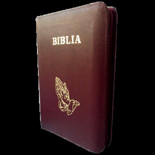 Biblia din piele, marime medie, visinie, fermoar, cu maini, cuv. lui Isus cu rosu [053]