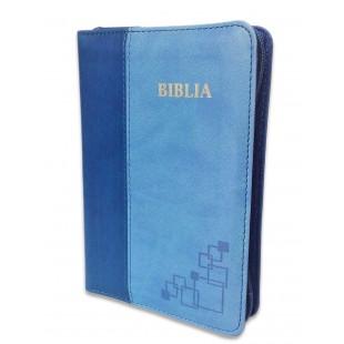 Biblie mica, piele ecologica, nuante de albastru, fermoar, index, margini argintate, cuv. lui Isus cu rosu [SI 043 FI]