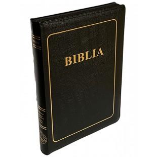 Biblia foarte mare, coperta piele, scris foarte mare, neagra, margini aurii, fermoar, index, trad. Cornilescu, cuvintele lui Isus cu rosu [ 088 ZTI]