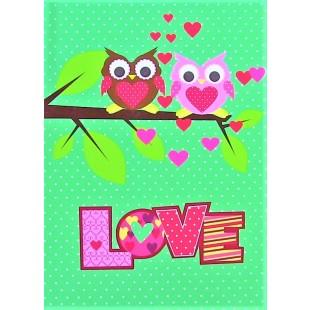 Carnetel A6, verde, bufnite - LOVE