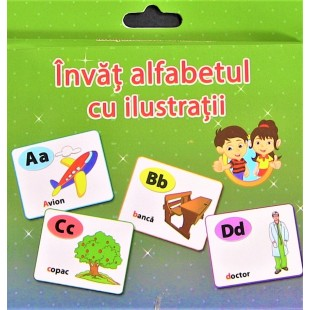 Carti de joc Educative - Invat ALFABETUL cu ilustratii (12x15cm)