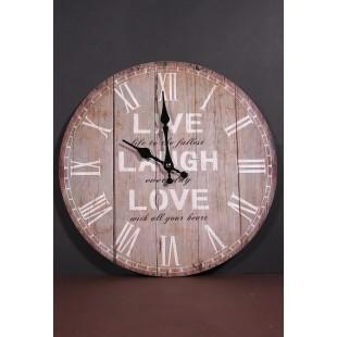 Ceas de perete rotund din lemn - Live, Laugh, Love (34cm)