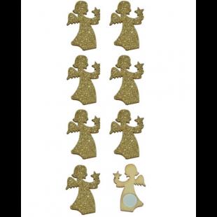 Autocolante decorative de Craciun - Ingeri din lemn, aurii, 8 buc.