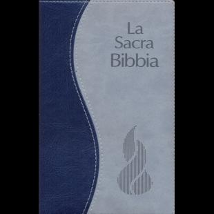 Biblia în limba italiană -  La Sacra Bibbia, Nuova Riveduta, soft duo grigio/blu, E. argento