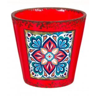 Masca pentru ghiveci din ceramica rosie - Flori (13x21cm)