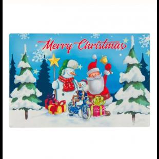 Covoras usa de Craciun, albastru - Merry Christmas