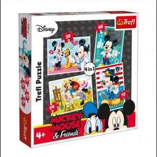 Puzzle Trefl - Mickey Mouse, 4 in 1 - Activitati pentru copii (3+)