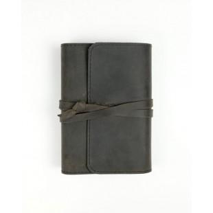 Husă pentru biblie, marime mica, piele autentica cu snur, neagra, prelucrata manual