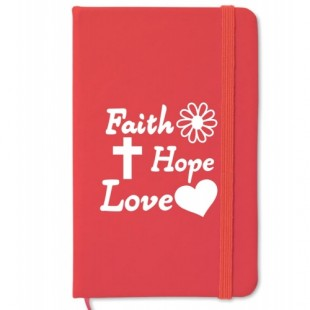 Carnetel A6 - Faith - Hope - Love (rosu)