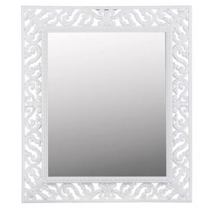 Oglinda de perete cu design perforat, alb (35.5x40.5)