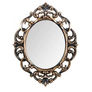 Oglinda de perete ovala, bronz-negru (30x40cm)