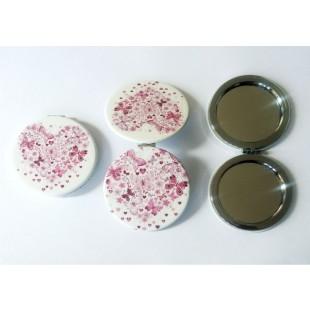 Oglinda de poseta, alb-roz - Fluturi, inimioare