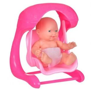 Papusa bebe in hinta, roz - Jucarii pentru copii