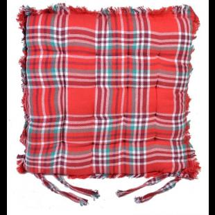 Perna scaun de Craciun cu franjuri, carouri rosii (40x40 cm)