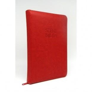 Szent Biblia - Közepes Biblia, Piros, Cipzárral, Regiszterrel, Károli Gáspár, Forditása (Biblia medie in lb. maghiara, fermoar, index)