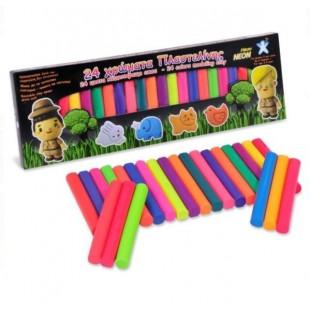 Plastilina, 24 culori neon - Activitati pentru copii (3+)