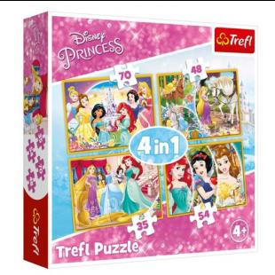 Puzzle Trefl - Princess, 4 in 1 - Activitati pentru copii (4+)